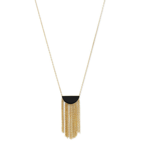 Gold Plated Silver Black Onyx and Fringe Necklace