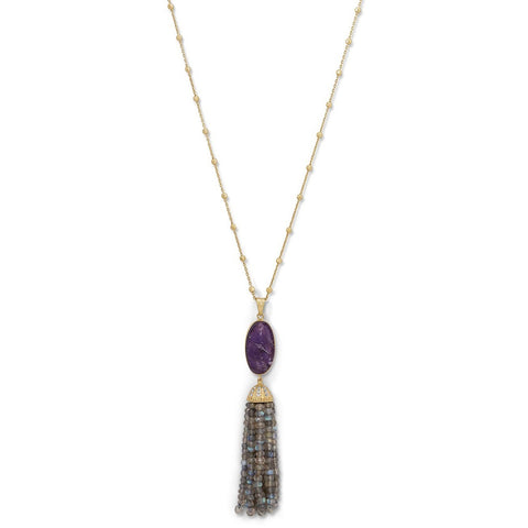Gold Plated Silver Amethyst and Labradorite Tassel Necklace