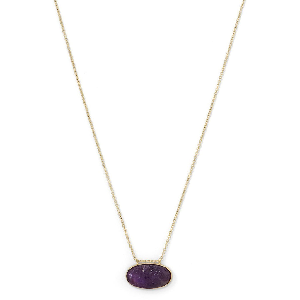 Gold Plated Silver Rough Cut Amethyst Slide Necklace