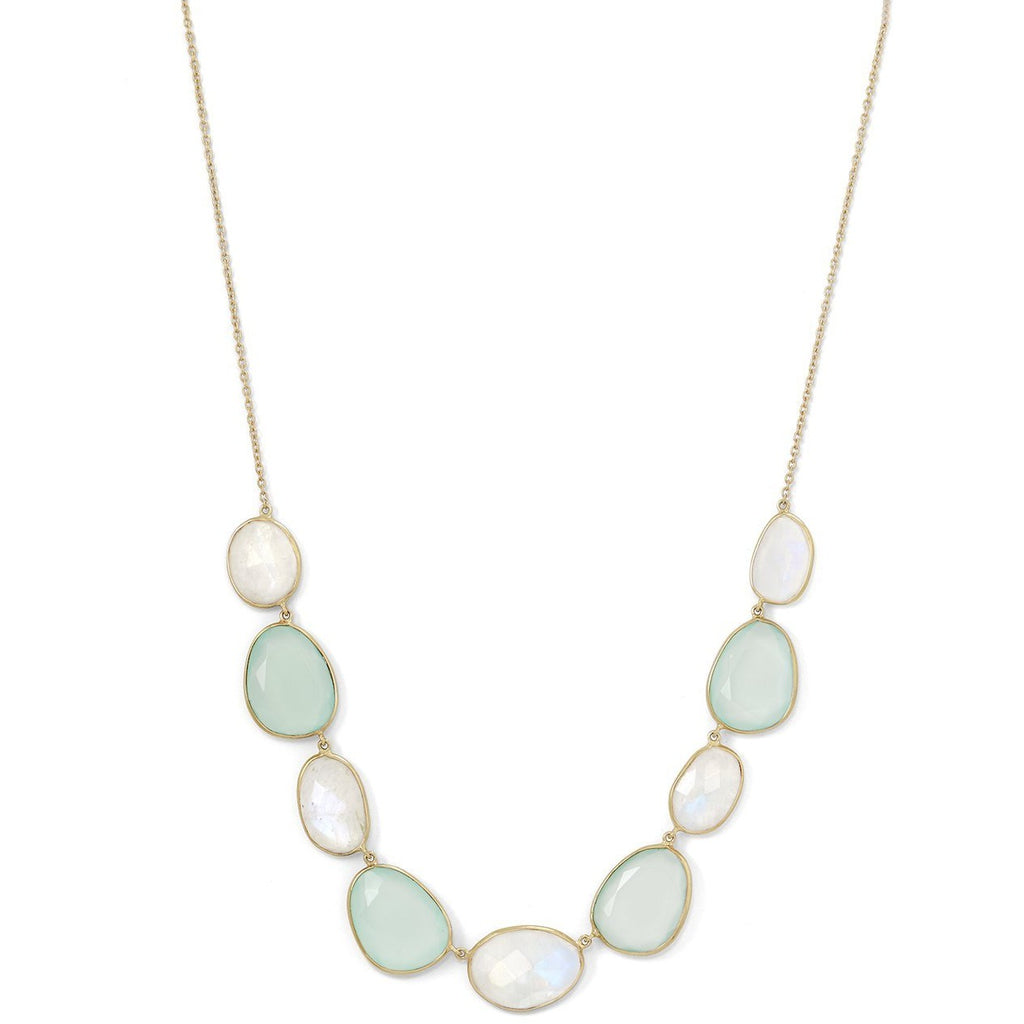 Gold Plated Silver Rainbow Moonstone and Green Chalcedony Necklace