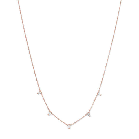 Rose Gold Plated Silver Dangling CZ Necklace