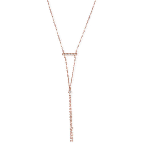 14 Karat Rose Gold Plated Bar Necklace with Y Drop