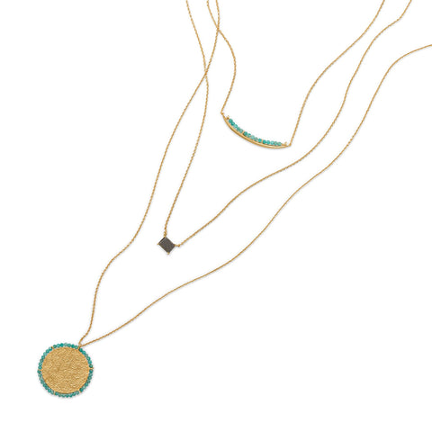 Three Strand Amazonite and Labradorite Gold Plated Necklace