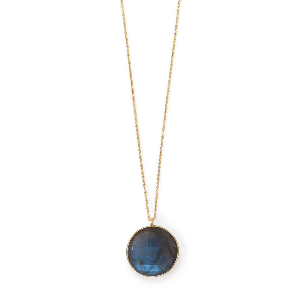 Gold Plated Round Labradorite Necklace