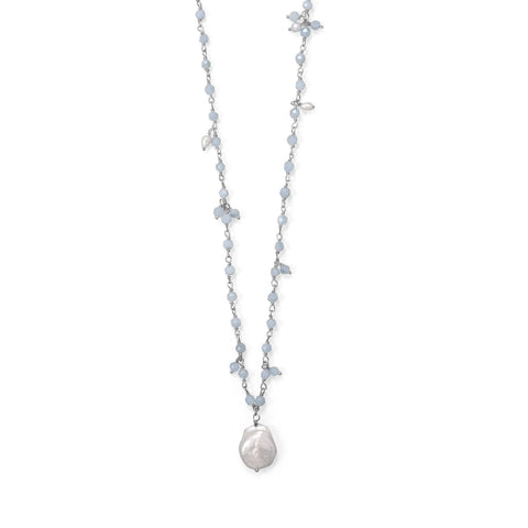 Three Stand Aquamarine and Cultured Fresh Water Pearl Necklace