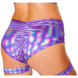 3467 - Roma Rave Purple Cutout Shorts with Ring Detail