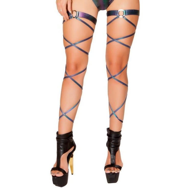 "3497 - Roma Rave 100"" Dark Multi Iridescent Denim Leg Wrap with Attached O-Ring Garters"