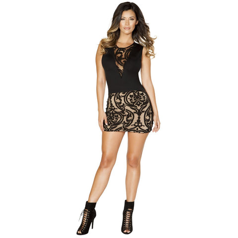 Black and Nude Sleeveles Mini Dress