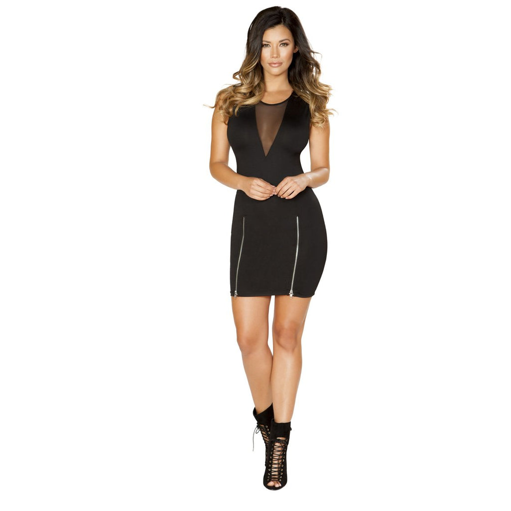 Clubwear Black Mini Dress with Double Slit Zipper Detail and Sheer V Neck Detail