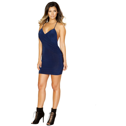 Clubwear Navy Blue Mini Dress with Spagethi Straps