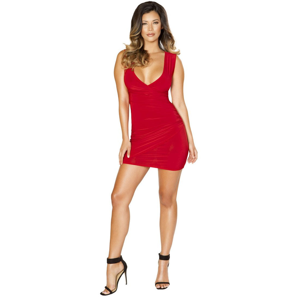 Clubwear Red Mini Dress with Overlapping Scrunch Detail