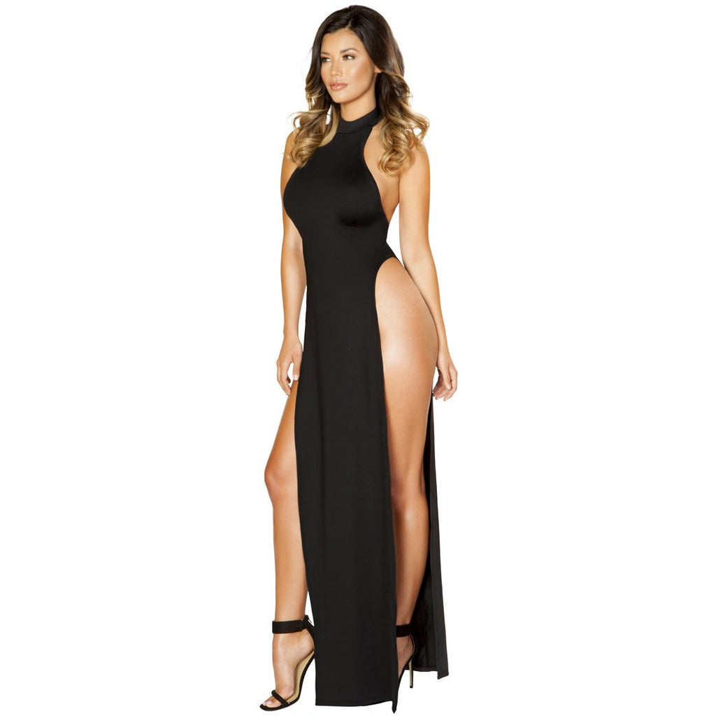 Black Clubwear Maxi Length Halter Neck Dress with High Slits