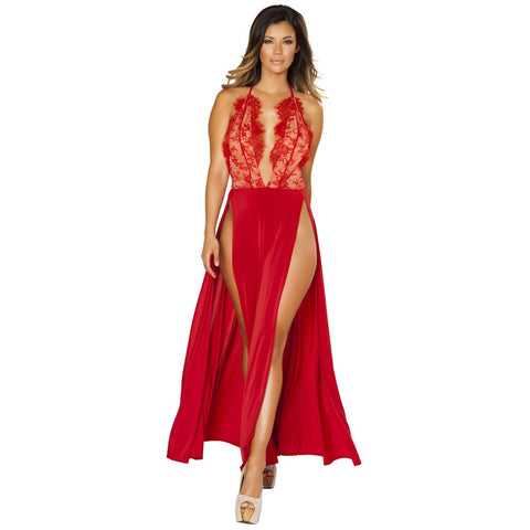 Red Clubwear Maxi Length High Slit Dress with Eyelash Lace Detail