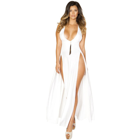 Clubwear White Maxi Length Dress with Front Slits