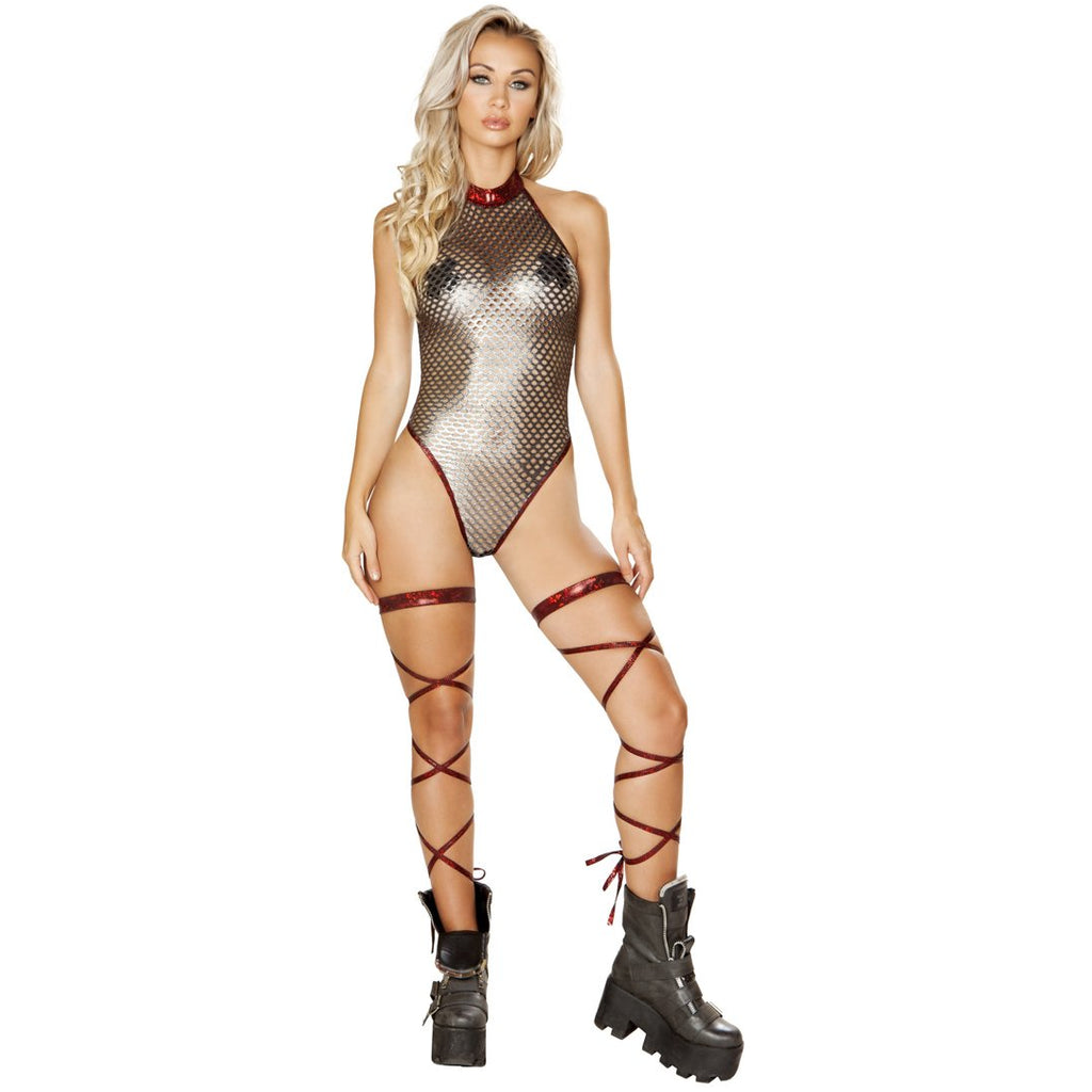 Fishnet Metallic Romper