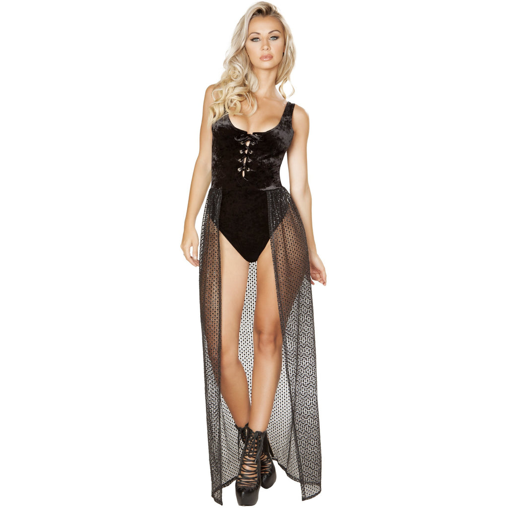 One pieceLace-up Velvet Romper with Attached Sheer Open Front Glitter Skirt