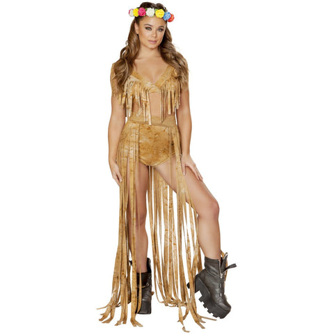 Brown Tie Dye Suide Long Fringe Open Front Skirt