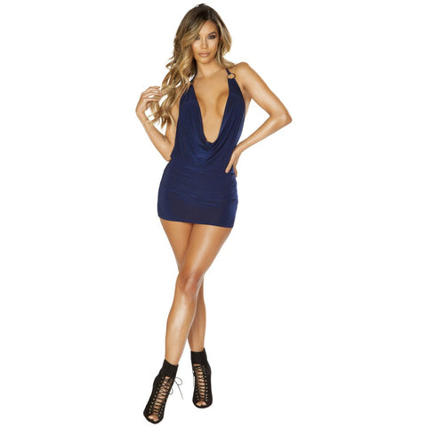 Sexy Navy Blue Low Cowl Neck Club Mini Dress
