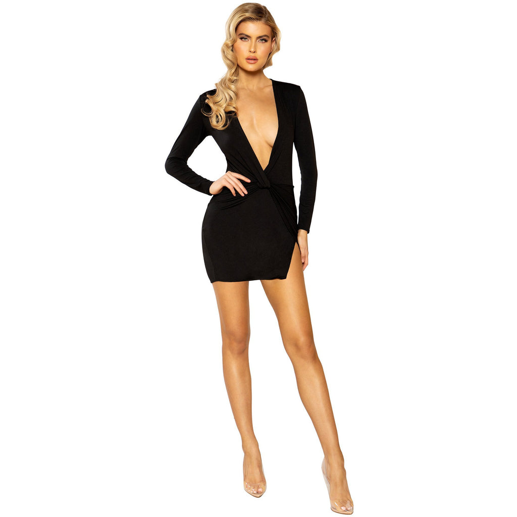 Low Plunge Mini Dress with Slit