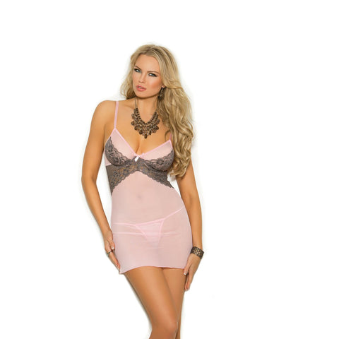 Plus Size Mesh Babydoll W/Underwire Cups