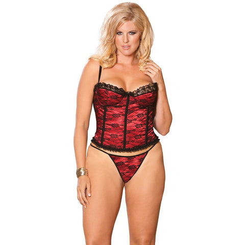 Plus Size Satin Bustier with Lace Overlay