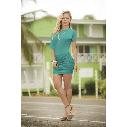 Off the Shoulder Mini Dress - Turquoise - Charmed Costumes