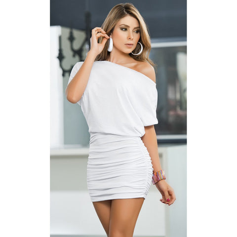 Off the Shoulder Mini Dress - White - Charmed Costumes