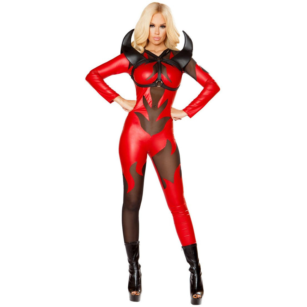 Red Devil Flame print Costume