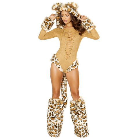 Sexy women's furry leopard costume