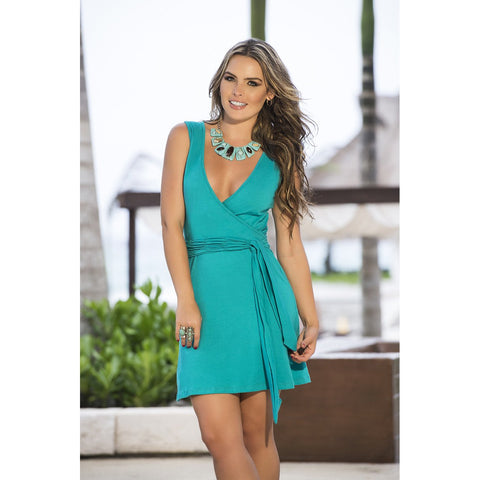 Sexy Wrap Dress - Turquoise - Charmed Costumes