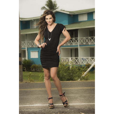 V-Neck Dress with Ruched Skirt - Black - Charmed Costumes