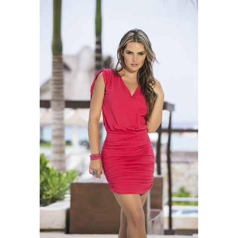 V-Neck Dress with Ruched Skirt - Coral - Charmed Costumes