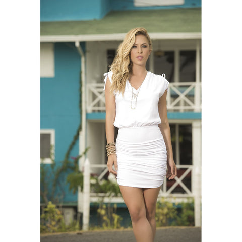 V-Neck Dress with Ruched Skirt - White - Charmed Costumes