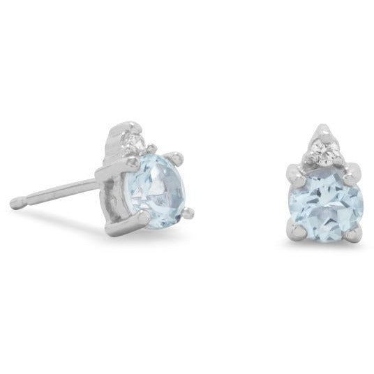 Rhodium Plated Blue Topaz and Clear CZ Earrings