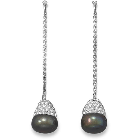 Peacock Cultured Freshwater Pearl and Crystal Drop Earrings