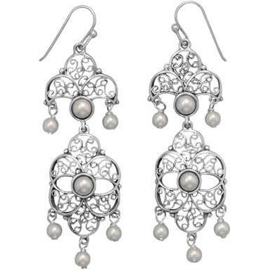 Vintage Imitation Pearl Drop Earrings