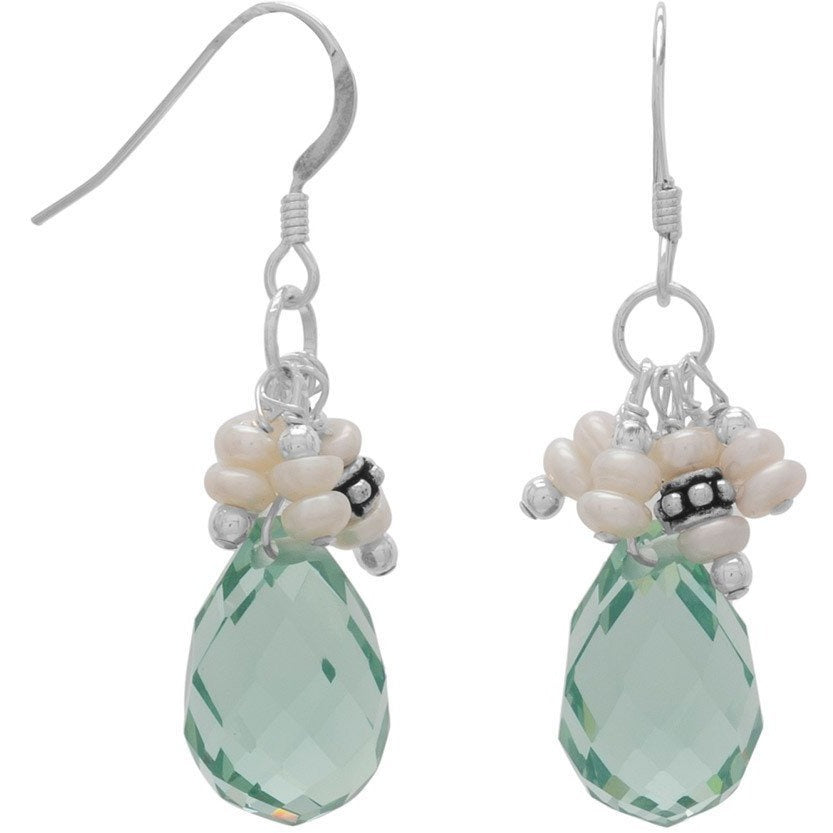 Handmade Earrings with Light Blue Crystal and Pearls