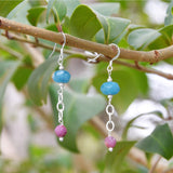 Handmade Blue Quartz and Corundum Drop Earrings