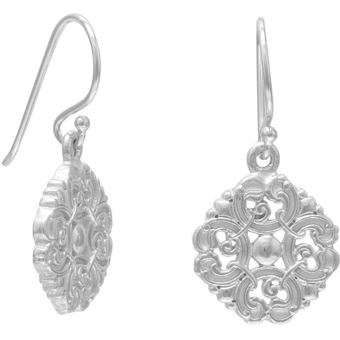 Rhodium Plated Vintage Earrings
