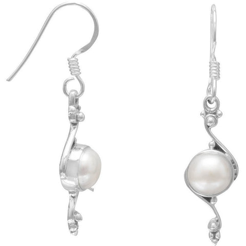 Cultured Freshwater Pearl Earrings with Oxidized Scroll Design