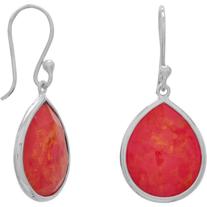 Pear Shape Freeform Faceted Quartz over Reconstituted Coral Drop Earrings