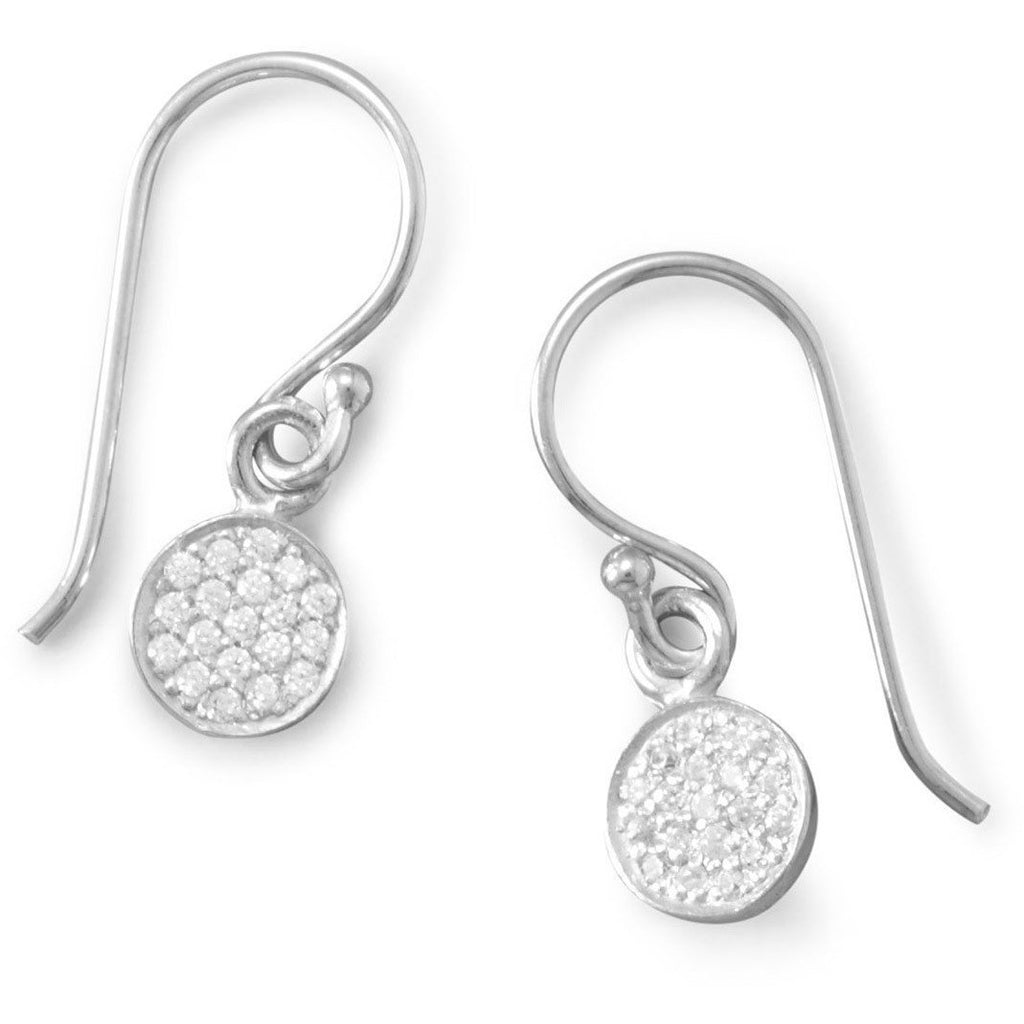 Rhodium Plated Pave CZ Disc Earrings
