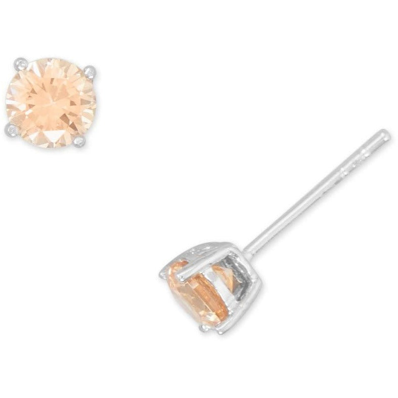 Rhodium Plated Champagne CZ Stud Earrings