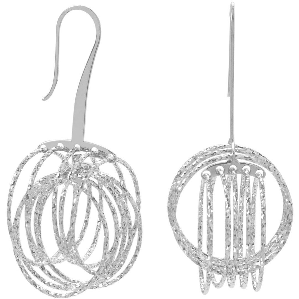 Rhodium Plated 3D Orbital Ring Earrings