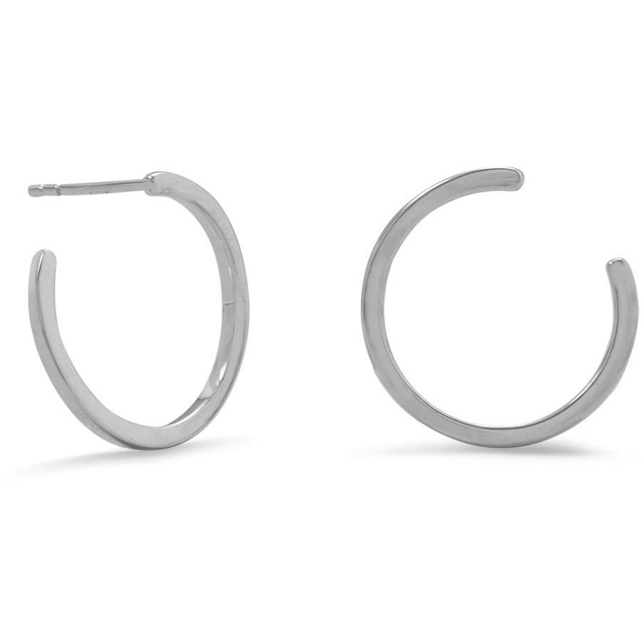 Rhodium Plated Lateral 3/4 Hoops