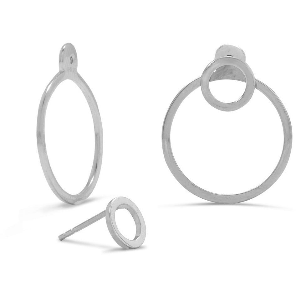 Rhodium Plated Front Back Circle Earrings
