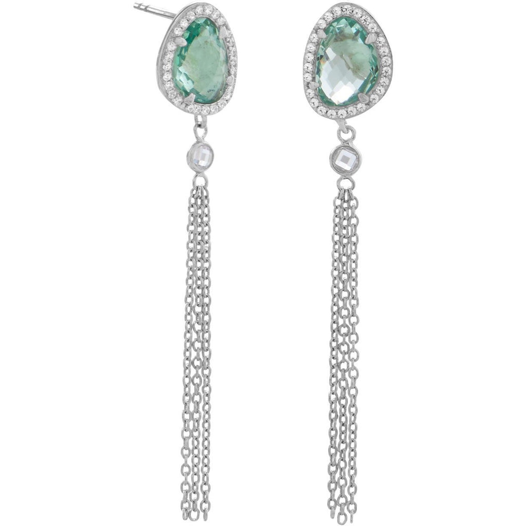 Rhodium Plated Sea Green Glass and Tassel Drop Earrings