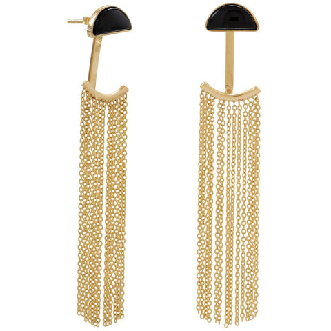 Gold Plated Silver Black Onyx and Fringe Front Back Earrings