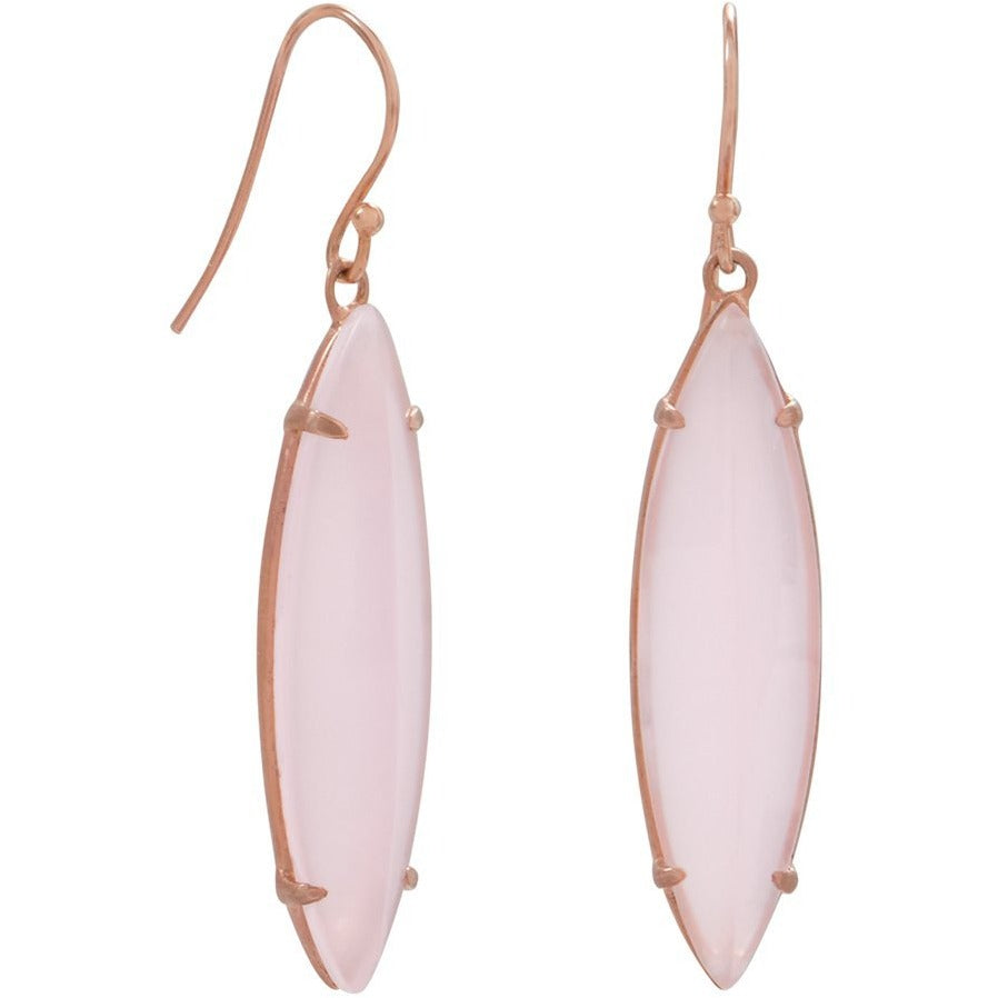 Rose Gold Plated Silver Pink Glass Marquise Earrings