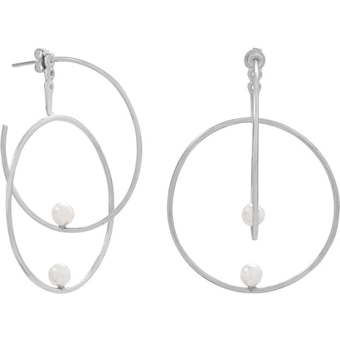 Rhodium Plated Front Back 3/4 Hoops with Imitation Pearls